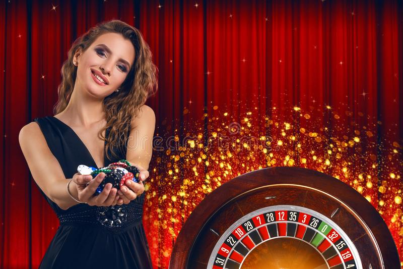 collage casino images roulette woman chips hands collage casino images roulette woman chips 118879115